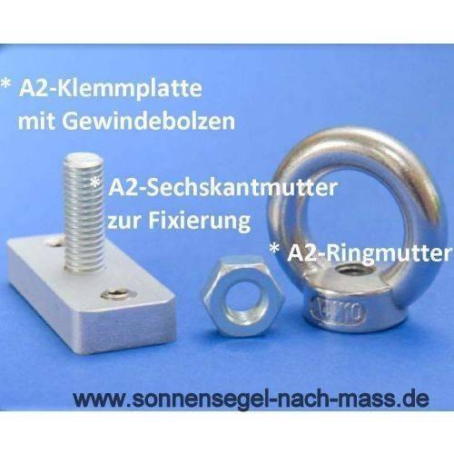 Klemmplatte mit Gewindebolzen & Ringmutter für Aluminiumpfosten